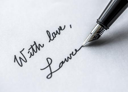 Macro of signing fountain pen Zdjęcie Seryjne