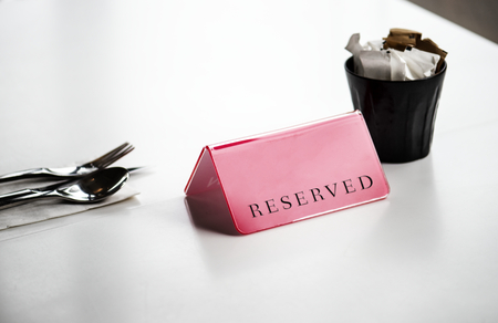 Reserved dining table service setting Stock fotó