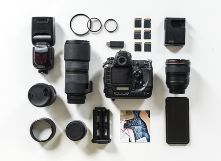 Camera and accessories flat lay
