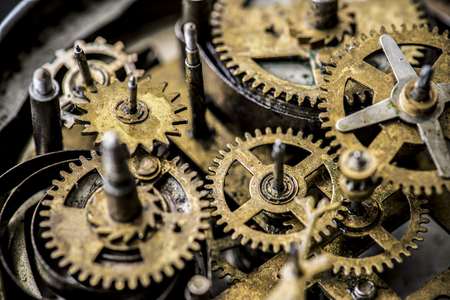 Closeup of gears and cogs clockwork