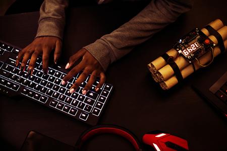 Cyber terrorist concept Imagens