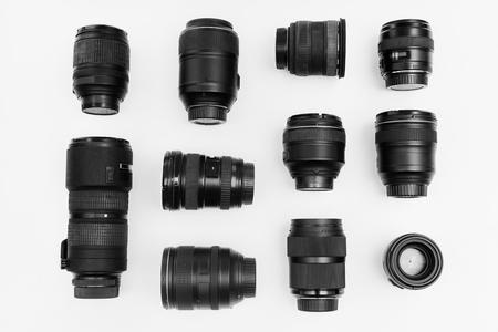 白い背景に分離されたデジタル レンズ 写真素材