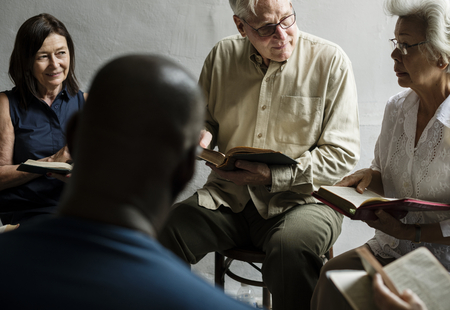Group christianity people reading bible together