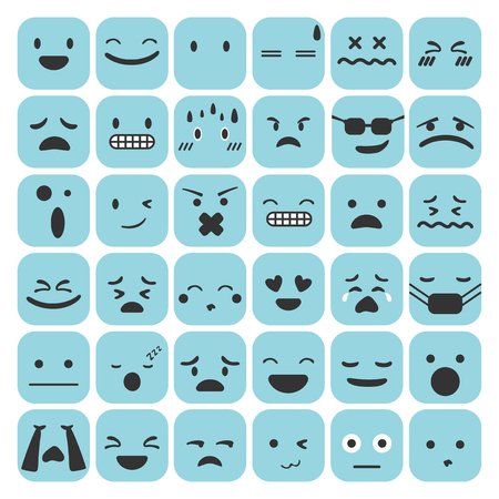 Emoji emoticons set face expression feelings collection vector illustration Ilustração