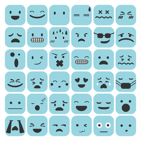 Emoji emotikony ustawić twarz wyrażenie uczucia kolekcja ilustracji wektorowych