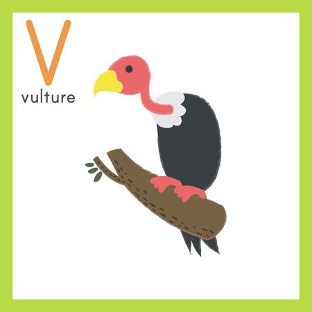 Illustratie stijl Alfabet leren voor kinderen - alfabet V