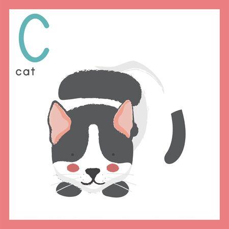 Estilo de ilustración Alfabeto de aprendizaje para niños - Alfabeto C Foto de archivo - 86104103