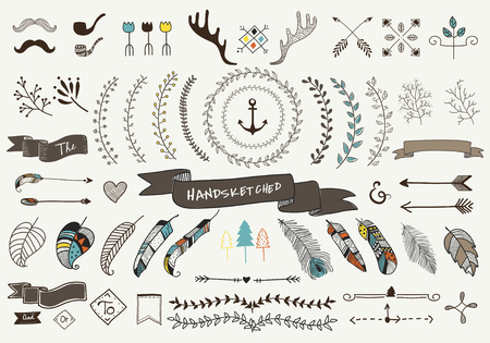 Collection set of hand sketched label ornament vector illustration Stock fotó - 85323938
