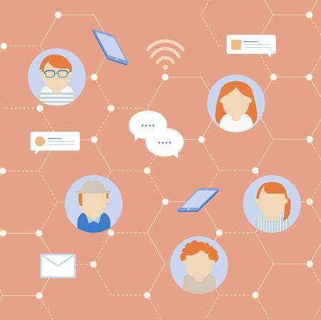 A Vector of social network communication icons. Ilustração
