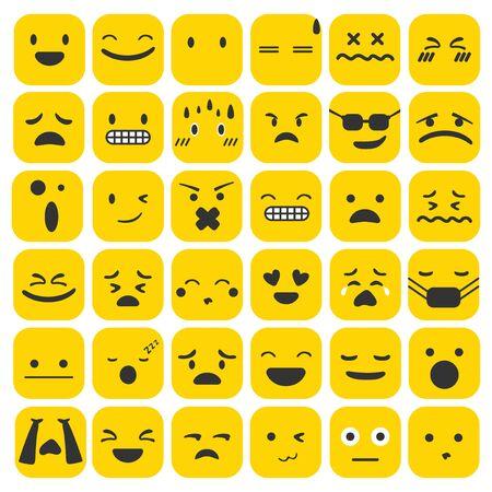 絵文字絵文字セット顔表現感情コレクションベクトルイラスト  イラスト・ベクター素材
