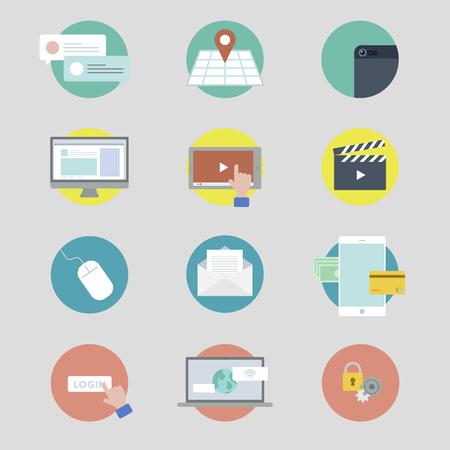 Vector set of social media icons Illustration