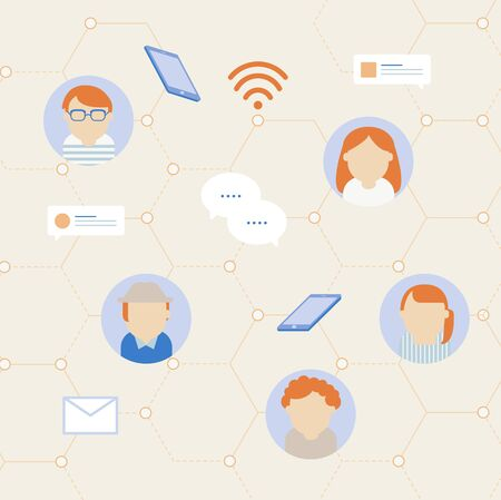 Vector of social network communication icons 向量圖像