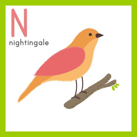 Illustration style Alphabet learning for children - Alphabet N 向量圖像
