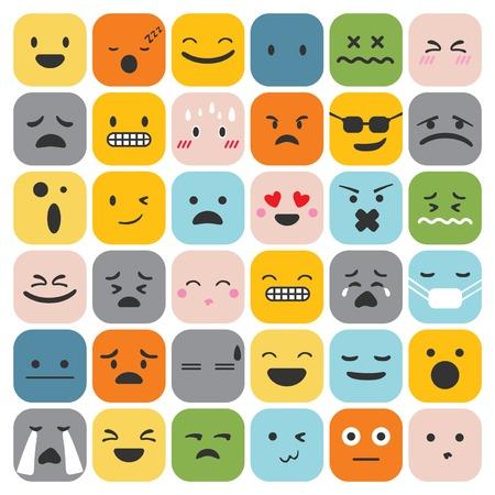 絵文字顔文字セット顔表現感情コレクション ベクトル図  イラスト・ベクター素材