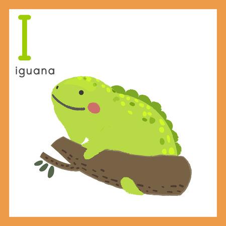 Illustration style Alphabet learning for children - Alphabet I 向量圖像