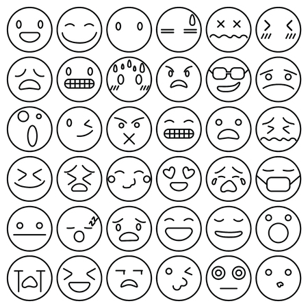 Emoji emoticons set face expression feelings collection vector illustration 向量圖像