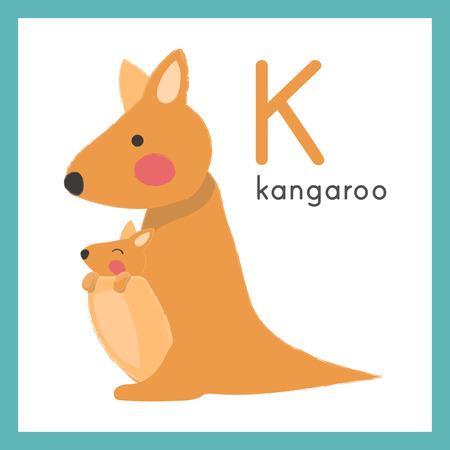 Illustratie stijl Alfabet leren voor kinderen - alfabet K Stock Illustratie