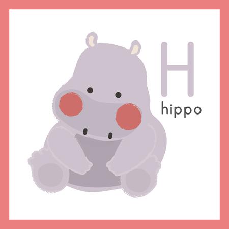 Illustration style Alphabet learning for children - Alphabet H Ilustracja