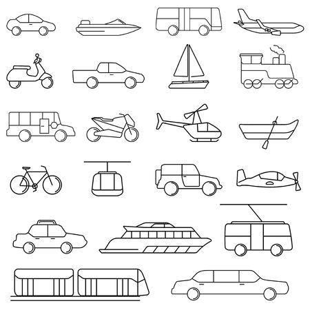 Vector van verschillende transportvoertuigen