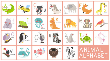 Illustration style Alphabet learning chart Vettoriali