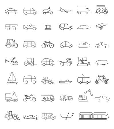 Een vector van verschillende transportvoertuigen. Stock Illustratie