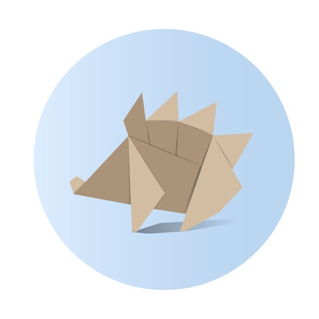 Animal origami vector on blue background.