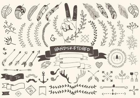 Collection set of hand sketched label ornament vector illustration