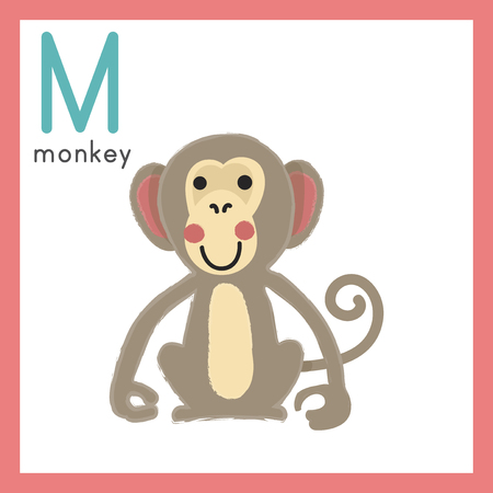Illustration style Alphabet learning for children - Alphabet M Çizim
