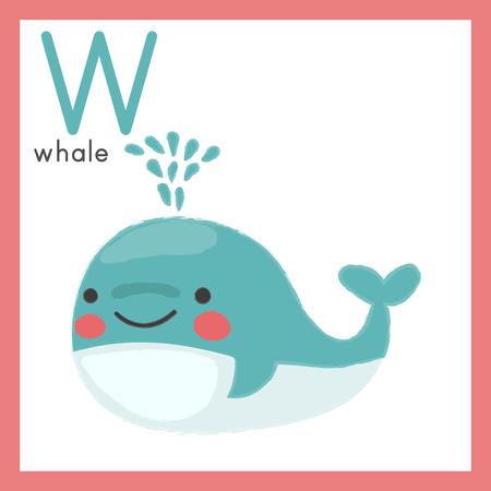 Illustration style Alphabet learning for children - Alphabet W