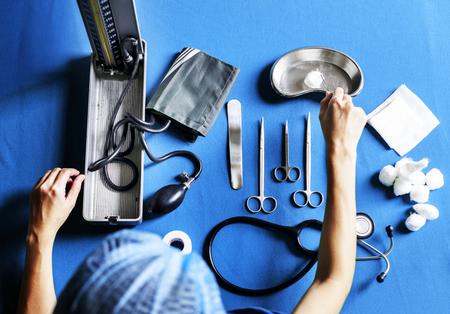 A doctor preparing an equipment Stock Photo
