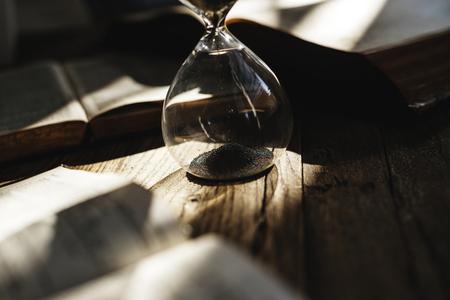 Sandglass on the table
