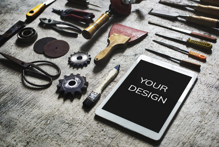 Hand craft tools and device isolated on background Banque d'images