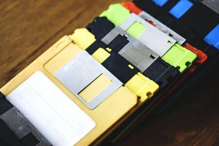 올드 스쿨 플로피 디스크 드라이브 데이터 스토리지 스톡 콘텐츠