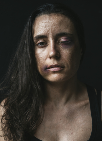 Depress woman in the dark Stock Photo