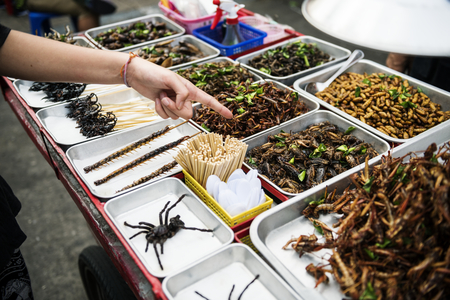 Closeup of hand ordering cooked insects in Thailand street food stall Stock Photo