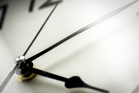 Closeup of watch clock time isolated