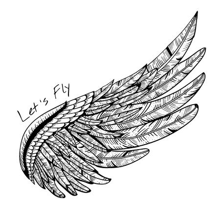 빈티지 벡터 날개