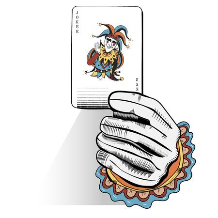 ランダムプレイカードを保持する手のベクトル  イラスト・ベクター素材