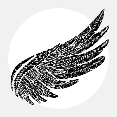 Vintage vector vleugel Stock Illustratie