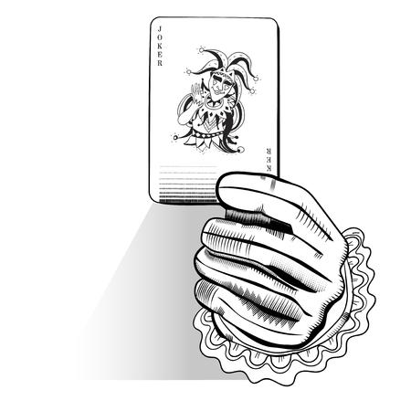 ランダムなプレーイング カードを持っている手のベクトル