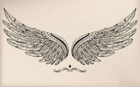 Vintage vector wing Vettoriali