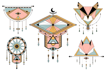Dreamcatcher styled vectors on background Иллюстрация