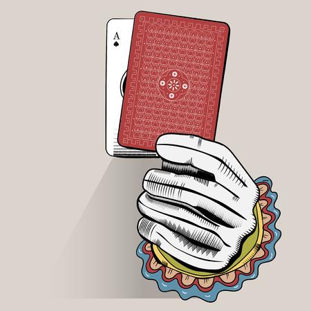 Vector de la mano que sostiene la tarjeta de juegos al azar Foto de archivo - 85862749