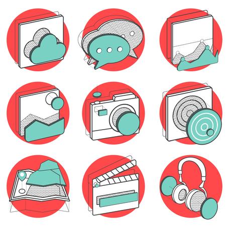 Illustration set of recreation icons