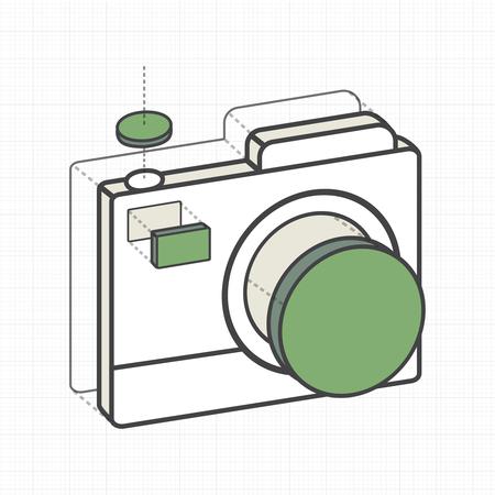 説明カメラの創造的なデジタル グラフィック  イラスト・ベクター素材