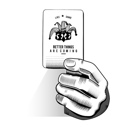 임의의 재생 카드를 들고 손 벡터 스톡 콘텐츠 - 85969009