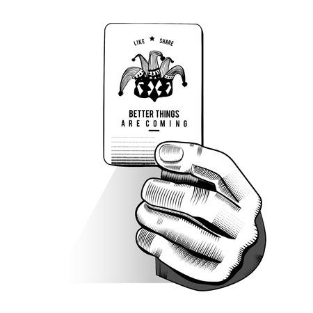 Vector de la mano que sostiene la tarjeta de juegos al azar Foto de archivo - 85969009