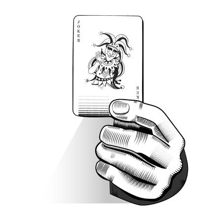 임의의 재생 카드를 들고 손 벡터 일러스트
