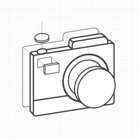 Illustrative camera creative digital graphic.