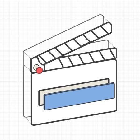 Illustrative movie slate creative digital graphic. Illustration